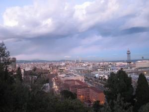 Barcelona Uitzicht over haven vanaf Montjuic